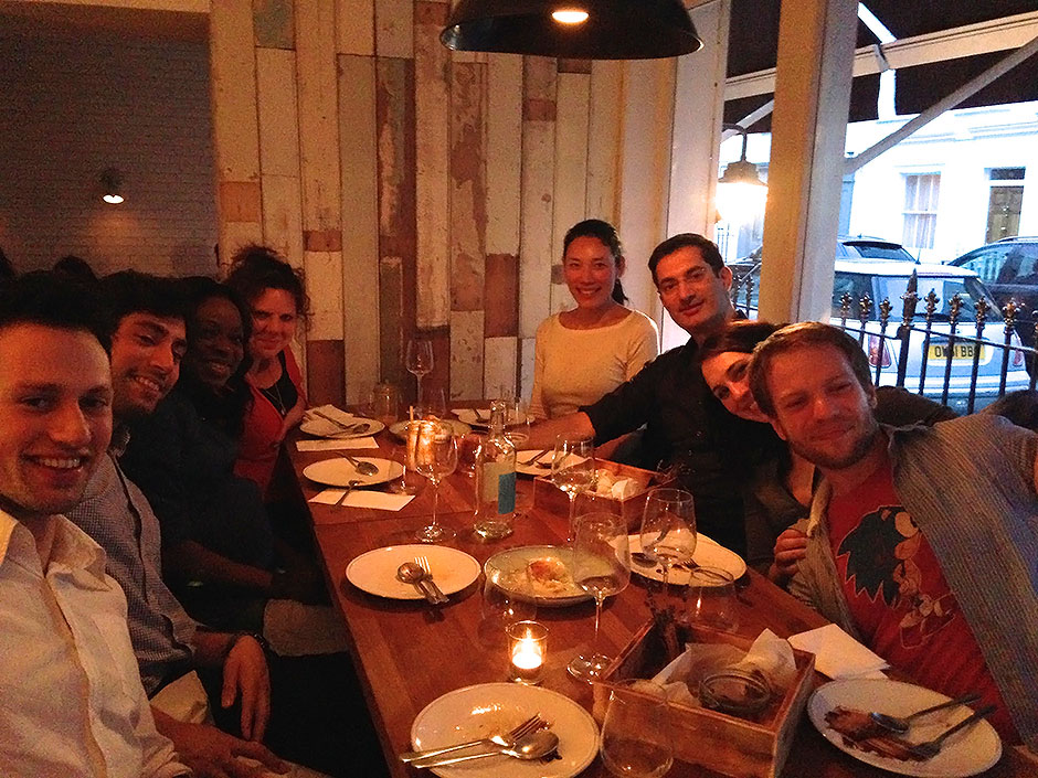 Synaptic Plasticity and Repair Group (Vincenzo De Paola) – Dinner at a Greek restaurant in Notting Hill to celebrate the newborn baby girl of Lydia Lawson, the departure of Jonathan Bowen, and the arrival of Katerina-Smaragda Papadopoulou, 20 May 2014